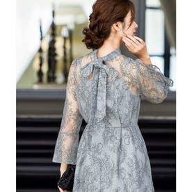 襟ボウタイレース 結婚式ワンピース パーティードレス 成人式 同窓会 二次会 ドレス (ブルーグレー)