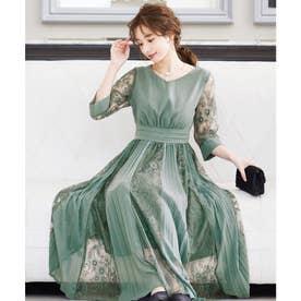 プリーツ×レース 7分袖ドレス 結婚式ワンピース (グリーン系)