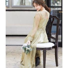 2wayバックリボン総レースドレス 結婚式ワンピース (イエロー) (イエロー)