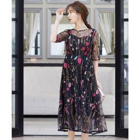 ヴィンテージ風フラワー刺繍ドレス 結婚式ワンピース (ブラック) (ブラック)