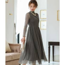 ラメチュールメロウワンピースドレス (チャコール) (グレー)