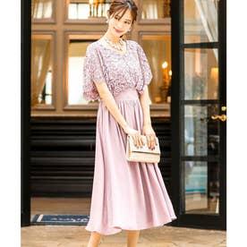 レーストップスブラウジング 結婚式ワンピース パーティードレス 成人式 同窓会 二次会 ドレス (ピンク)