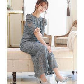 2way マーメイドジャンスカ&ボリューム袖ブラウス セットアップドレス (グレイッシュブルー)