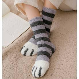 映えるモコモコ肉球ソックス2足セット 全6タイプ あったかい靴下 猫肉球 起毛靴下 (グレ-)