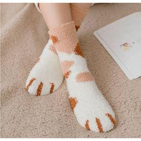 映えるモコモコ肉球ソックス2足セット 全6タイプ あったかい靴下 猫肉球 起毛靴下 (ベ-ジュ)