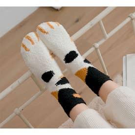 映えるモコモコ肉球ソックス2足セット 全6タイプ あったかい靴下 猫肉球 起毛靴下 (ホワイト)