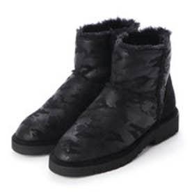 ふわふわインナー軽量ショートブーツ (ブラック/カモ)