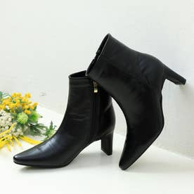 オトナ ポインテッド セットバックヒール ショートブーツ (ブラック)