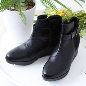 異素材コンビ サイドジップ ショートブーツ (ブラック)