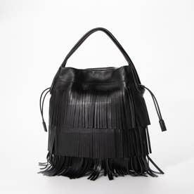 フリンジドロストデザインバッグ (ブラック)