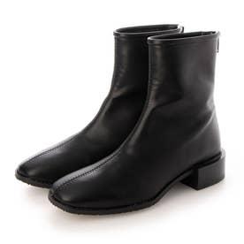 スクエアトゥローヒールショートブーツ (ブラック)