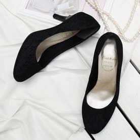 リボン付ヒールパンプス(7.5CMヒール)【入学式・結婚式・フォーマルシーン対応靴】 (BK-LACE)