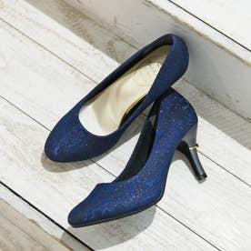 リボン付ヒールパンプス(7.5CMヒール)【入学式・結婚式・フォーマルシーン対応靴】 (NV-LACE)