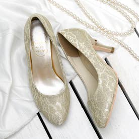リボン付ヒールパンプス(7.5CMヒール)【入学式・結婚式・フォーマルシーン対応靴】 (GLD-LACE)