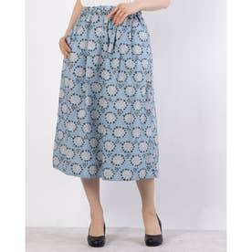 アジサイプリントスカート (ブルー)