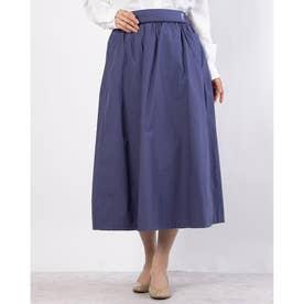 ブーケ刺繍入りフレアスカート (ブルー)