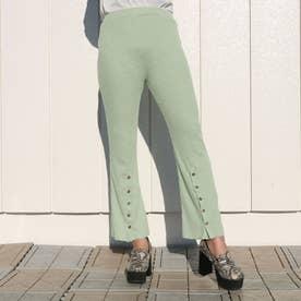 裾ボタンリブフレアパンツ (ライトグリーン)