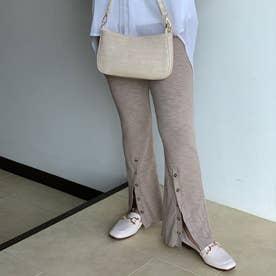 裾ボタンリブフレアパンツ (モカ)
