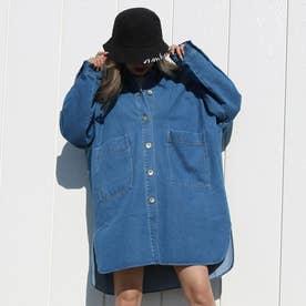オーバーサイズシャツジャケット (ブルー)