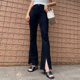 センタープレス裾スリットフレアパンツ (クロ)
