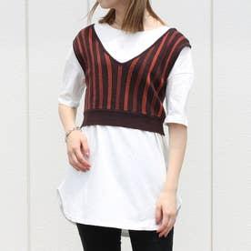 ニットビスチェTシャツセット (ストライプブラウン)