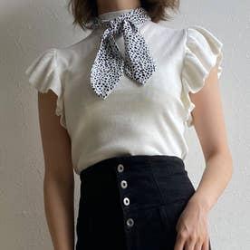 スカーフ付きハイネックニットトップス (オフホワイト)