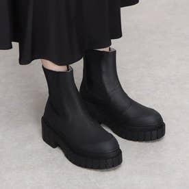 雨の日も安心!つま先ラバー素材 厚底サイドゴアブーツ KROSS-12921 (BLACK)
