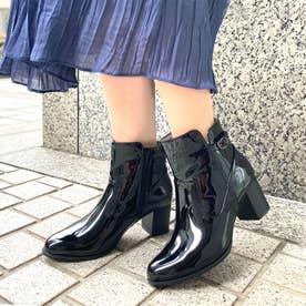 【レイン対応】ヒールアップエナメルベルテッドレインブーツ (asatsuyu black)