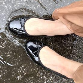 【レイン対応】ウォーターリプレントレザーバレエシューズ (asatsuyu black)