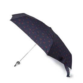 【晴雨兼用】ジッパーポーチチェリー折り畳み傘 (ネイビー)