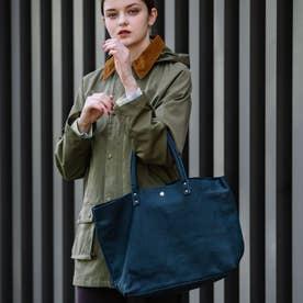 【日本製】シュリンクレザーオイル仕上げ2WAYトートバッグ/取り外し可能なバッグインバッグ付き(ネイビー)