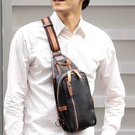 【日本製】シュリンクレザーオイル仕上げ×ヌメ革 縦型ボディバッグ/ワンショルダーバッグ(ブラック)