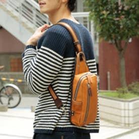 【日本製】シュリンクレザーオイル仕上げ×ヌメ革 縦型ボディバッグ/ワンショルダーバッグ(オレンジ)