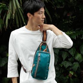 【日本製】高密度ナイロンツイル×レザー ボディバッグ/ワンショルダーバッグ ヌメ革 (BL)