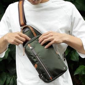 【日本製】高密度ナイロンツイル×レザー ボディバッグ/ワンショルダーバッグ ヌメ革 (OLV)
