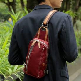 【日本製】高密度ナイロンツイル×レザー ボディバッグ/ワンショルダーバッグ ヌメ革 (WI)
