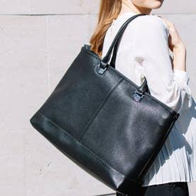 2WAYアンティークレザータイプ合皮トートバッグ/取り外し可能なバッグインバッグ付き(BK)