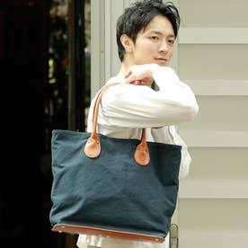 【日本製】倉敷10号帆布×レザー トートバッグ/バッグインバッグ付き (ネイビー)