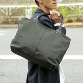 【日本製】ナイロン×ポリエステル混紡ツイル×レザー トートバッグ (オリーブ)