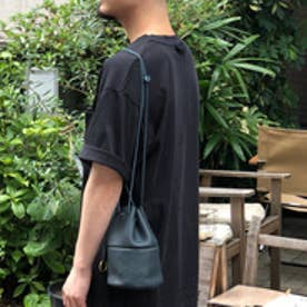 【日本製】シュリンクレザーオイル仕上げ巾着バッグ/ポーチ/ミニショルダーバッグ (ネイビー)