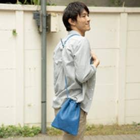 【日本製】ベジタブルタンニンなめしカウレザーミニショルダーバッグ/サコッシュ/巾着ポーチ (ブルー)