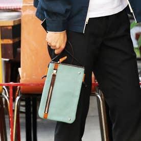 【日本製】シュリンクレザーオイル仕上げ×ヌメ革 モバイルネックショルダーバッグ (サックスブルー)