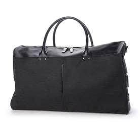 ナイロン×ポリエステル混紡ツイル+ヌメ革ボストンバッグ (ブラック)