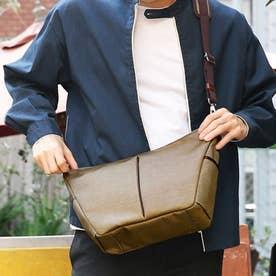 ナイロン×ポリエステル混紡ツイル+ヌメ革ショルダーバッグ (ベージュ)