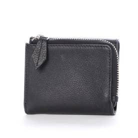 クロムなめし本革三つ折りミニウォレット財布 (ブラック)