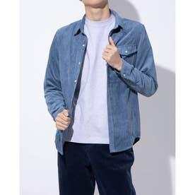 コーデュロイ素材のシャツ(ブルー)