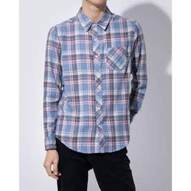 ビッグシルエットのチェックシャツ(ネイビー)