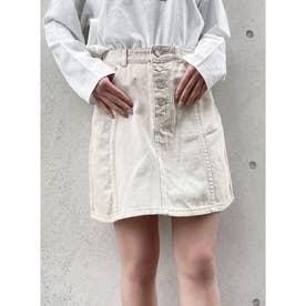 デニム前ボタン台形スカート (ホワイト)