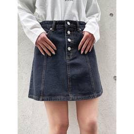デニム前ボタン台形スカート (ブラック)