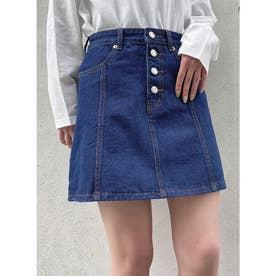 デニム前ボタン台形スカート (ライトブルー)